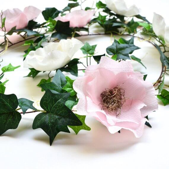 Flower and Ivy Crepe Paper Garland