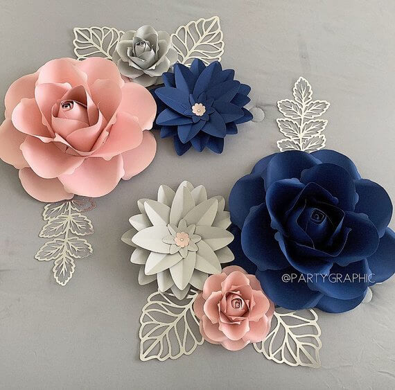 Hard Silver Leaves with Soft Paper Flowers