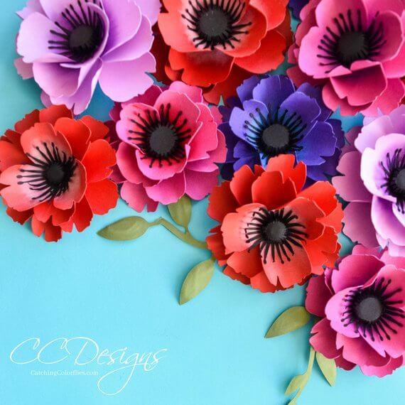Springtime Color Bursting Paper Poppy Template