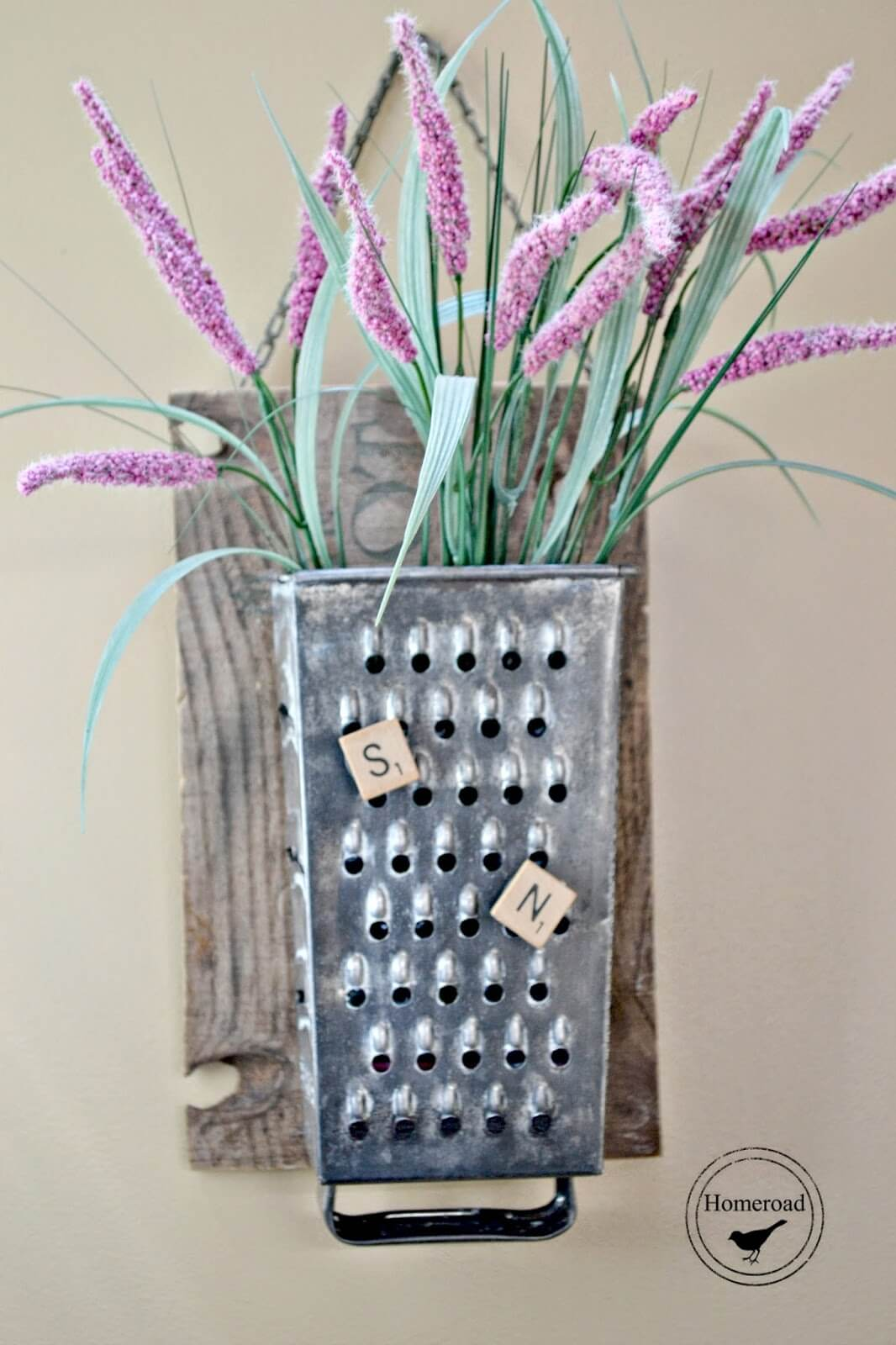 Repurposed Metal Cheese Grater Organizer