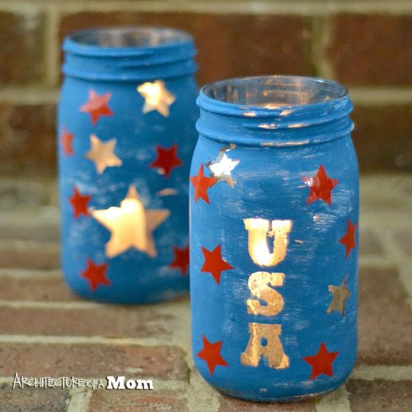 Scratched Paint Fourth of July Votive