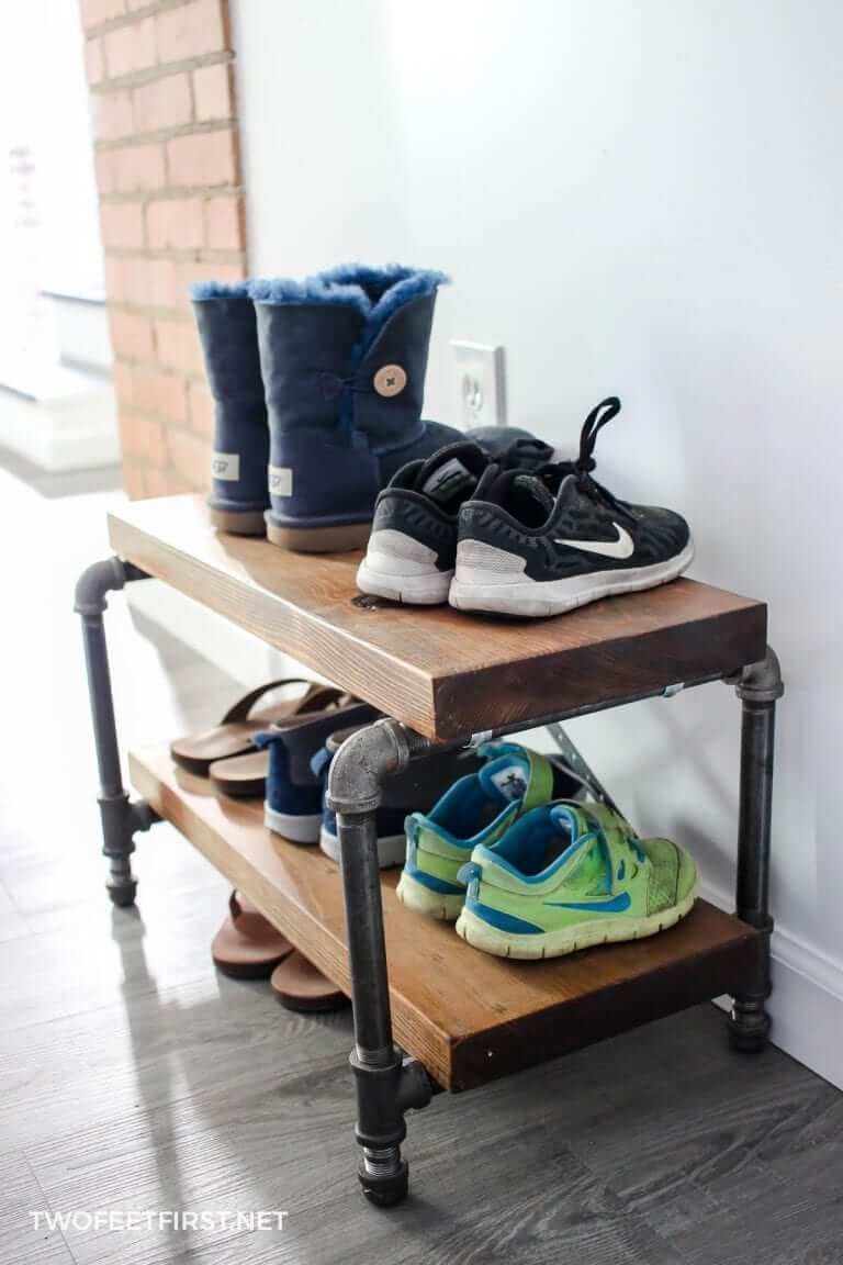 Industrial Wrought Iron Shoe Rack