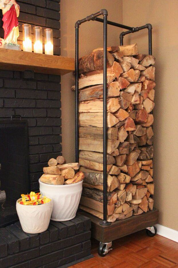 Inventive Firewood Holder with Plumping Pipes