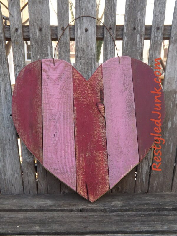 Pink Reclaimed Wood Hanging Heart