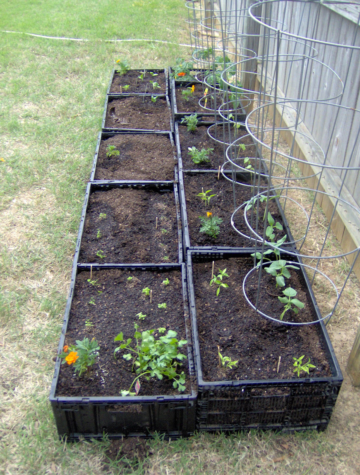 Space Saving Square Foot Garden with Crates