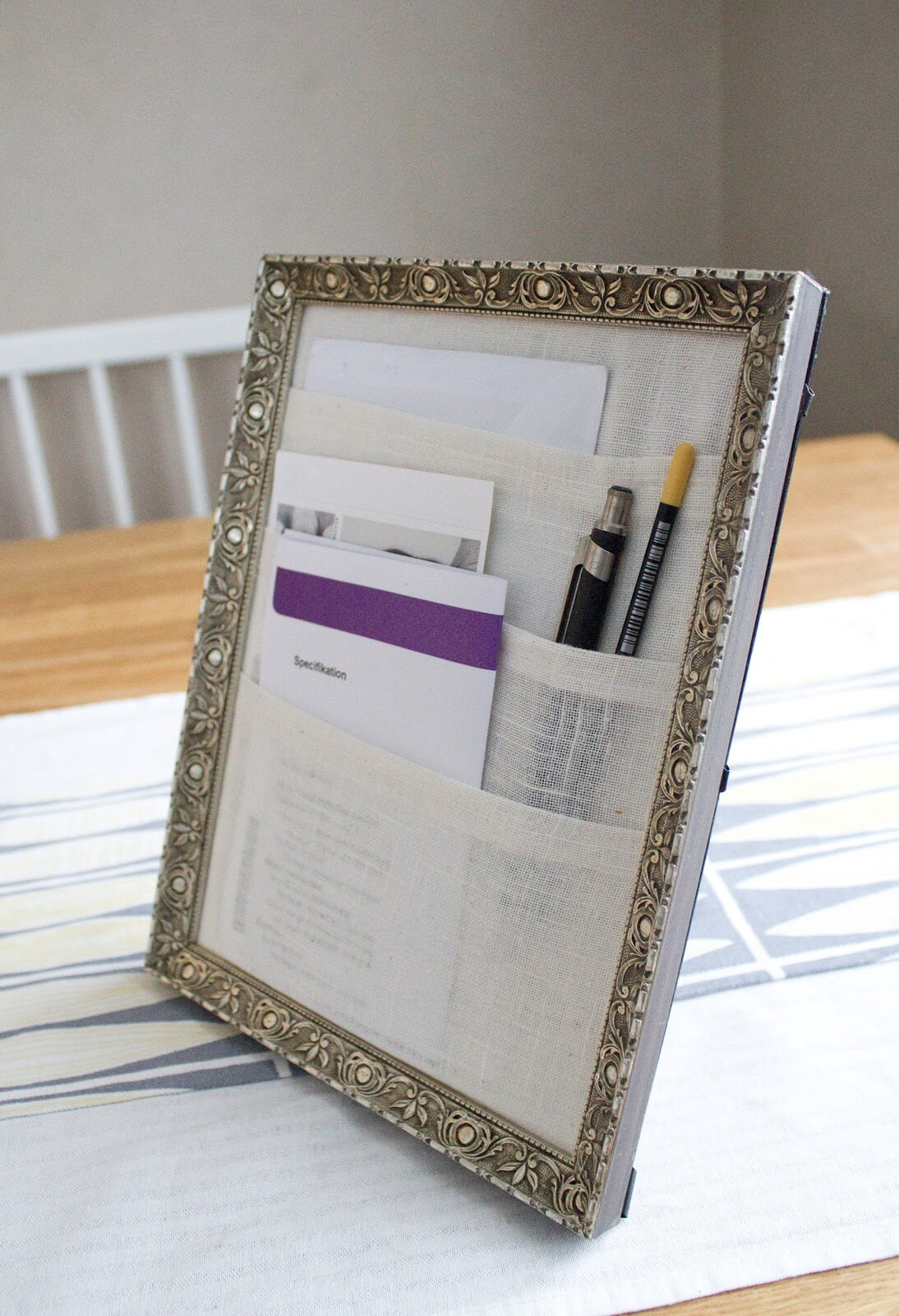 Table Top Organizer Using a Dollar Frame