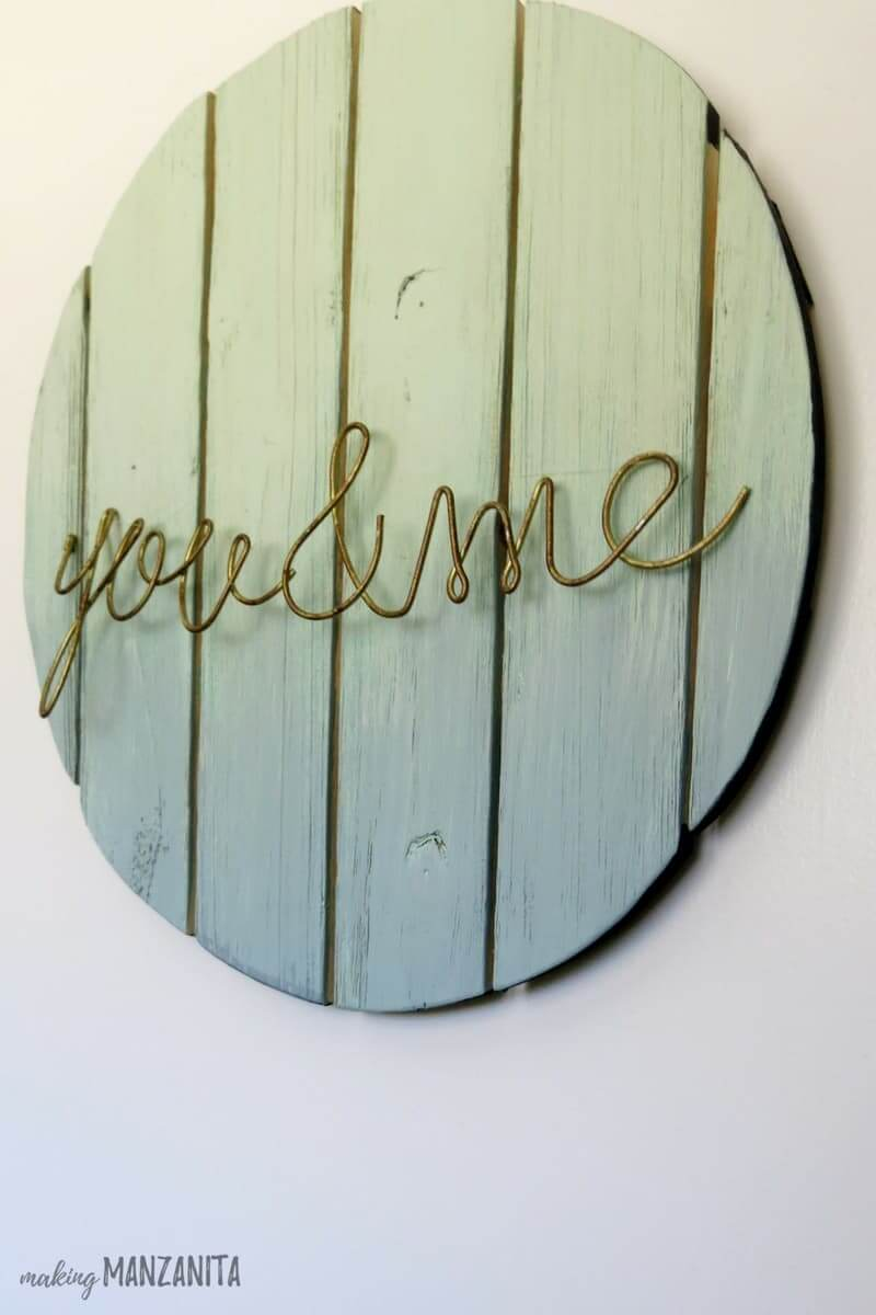 Ombre Painted Wood and Metal Sig