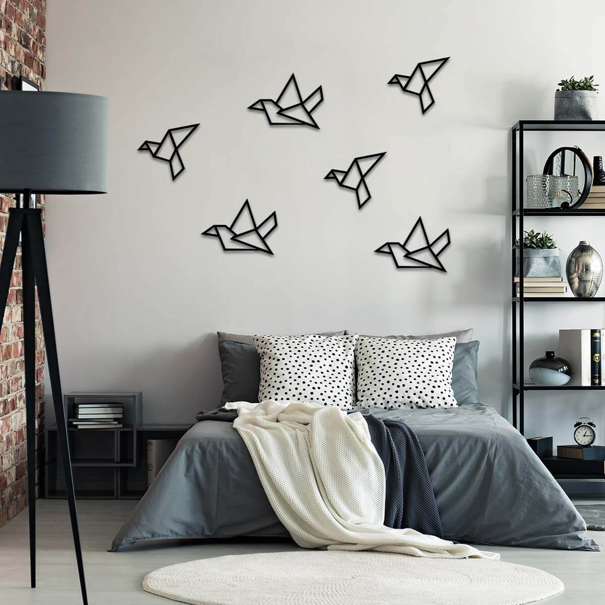 Metal Wall Art in Geometric Bird Shapes