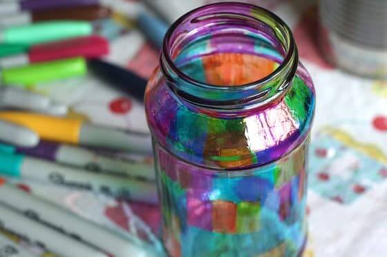 Fun Marker-Colored Stained Glass Container