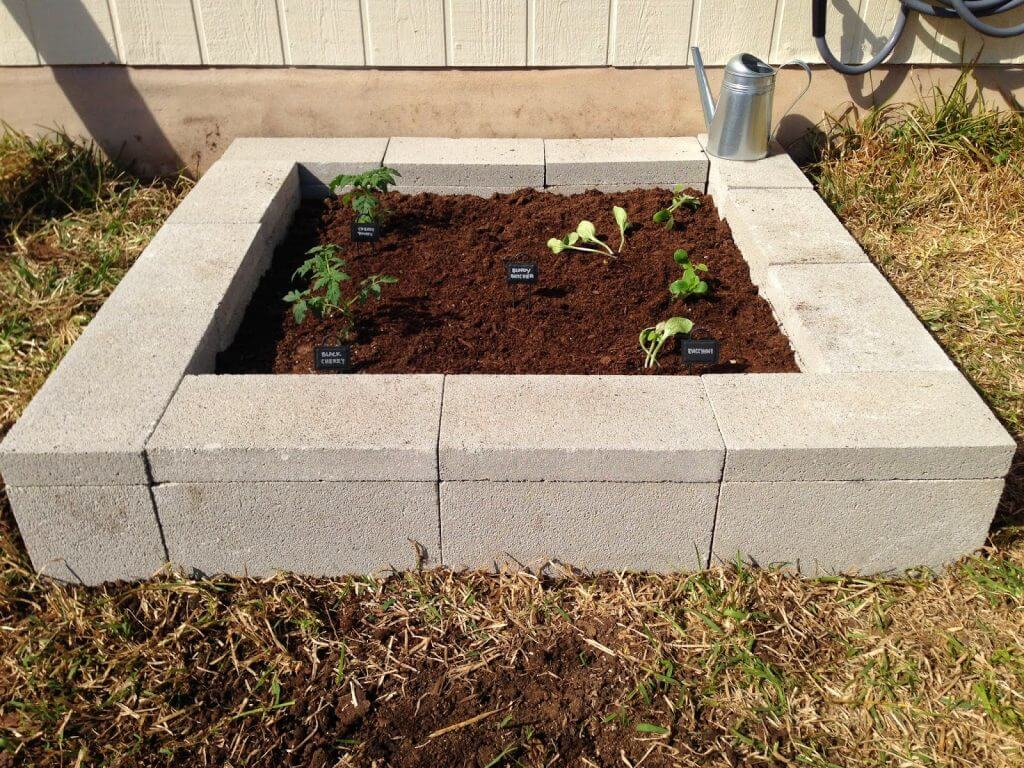 Cinder Block DIY Raised Garden Bed