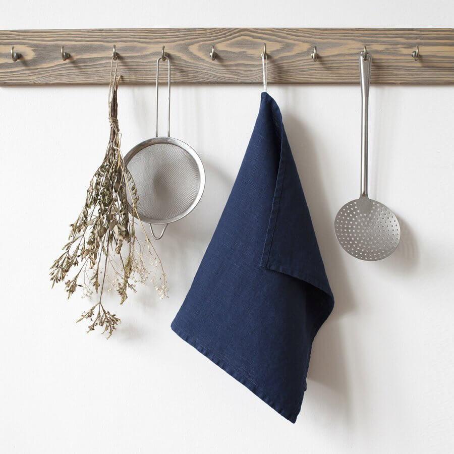 Navy Blue Linen Kitchen Towel