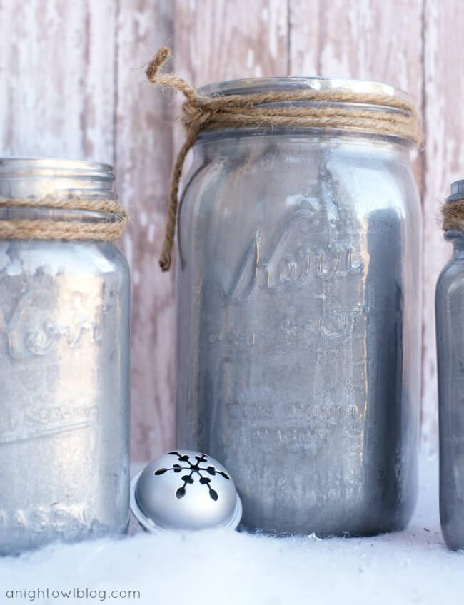 Shimmery Silver Wintertime-Inspired Jars