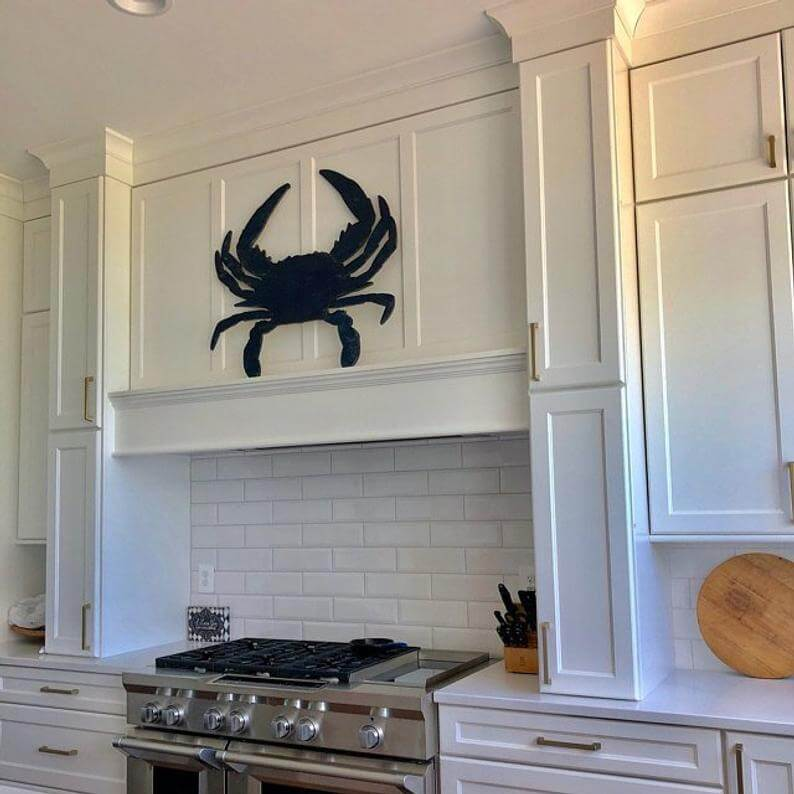 Blue Wooden Crab Wall Decor