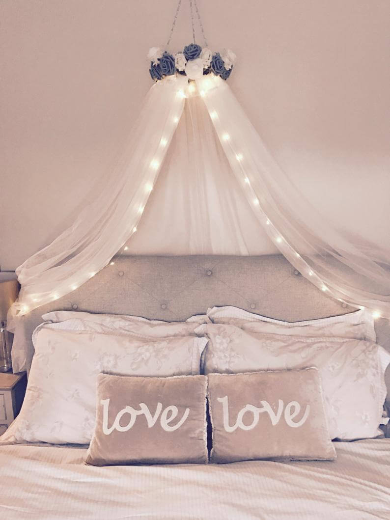 Handmade Cot Canopy with String Lights