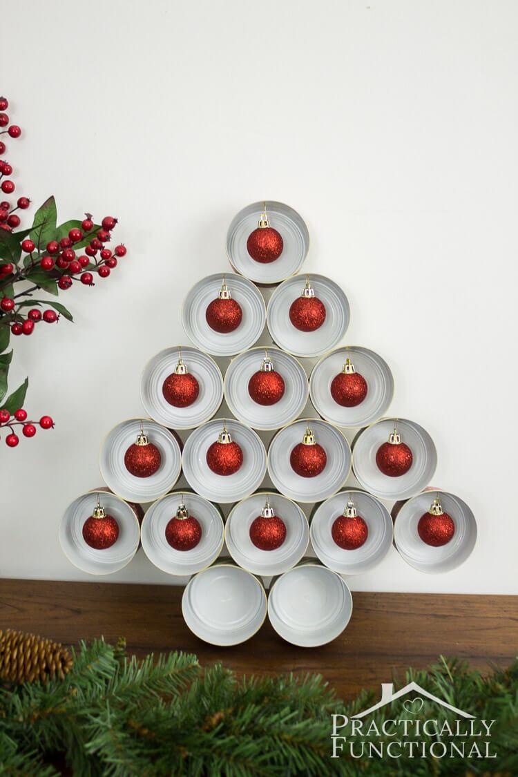 Festive Holiday Tin Can Tree