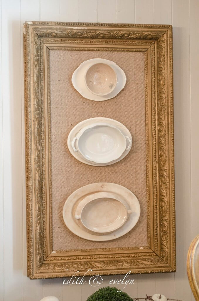 Vintage Burlap Frame Featuring Stacked Platters