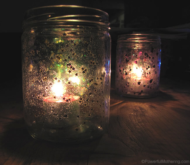 Stardust Sprinkled Mason Jar Votive