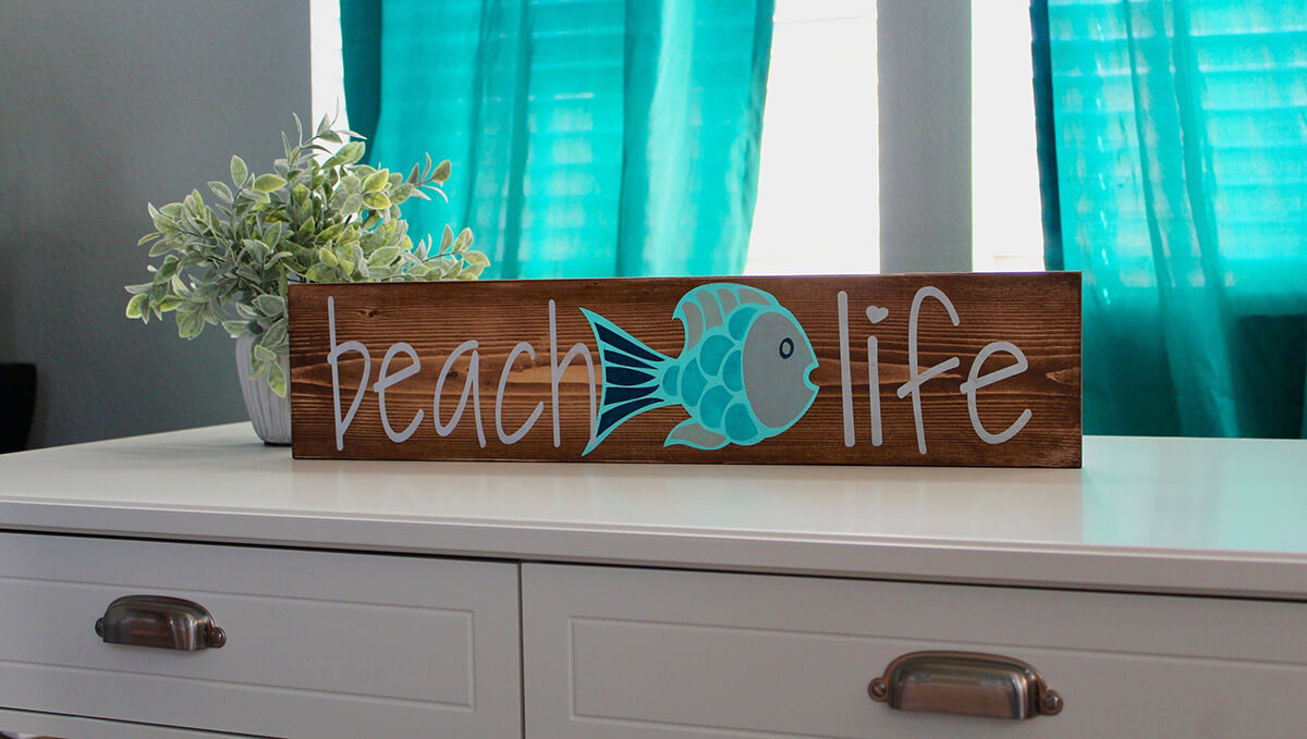 Beach Life Wooden Plank Sign