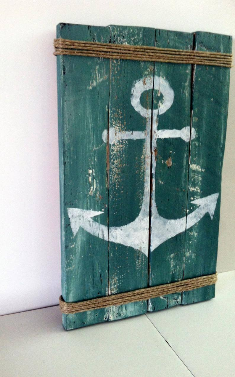 Anchors Away Weathered Sea Blue Board