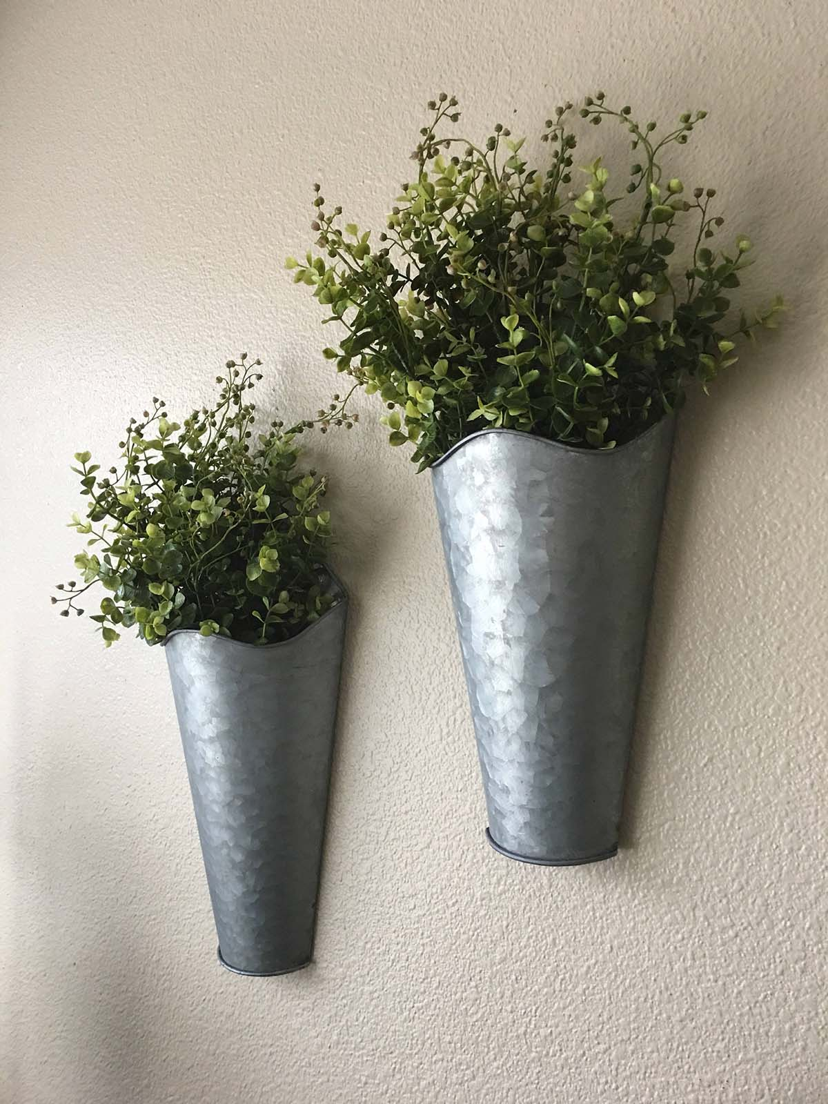 Galvanized Set of Metal Wall Planters