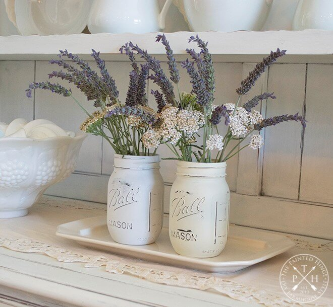 White Washed Rustic Wildflower Jars