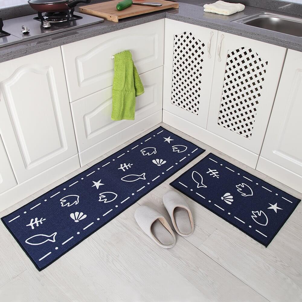 Navy And White Marine Life Kitchen Rugs