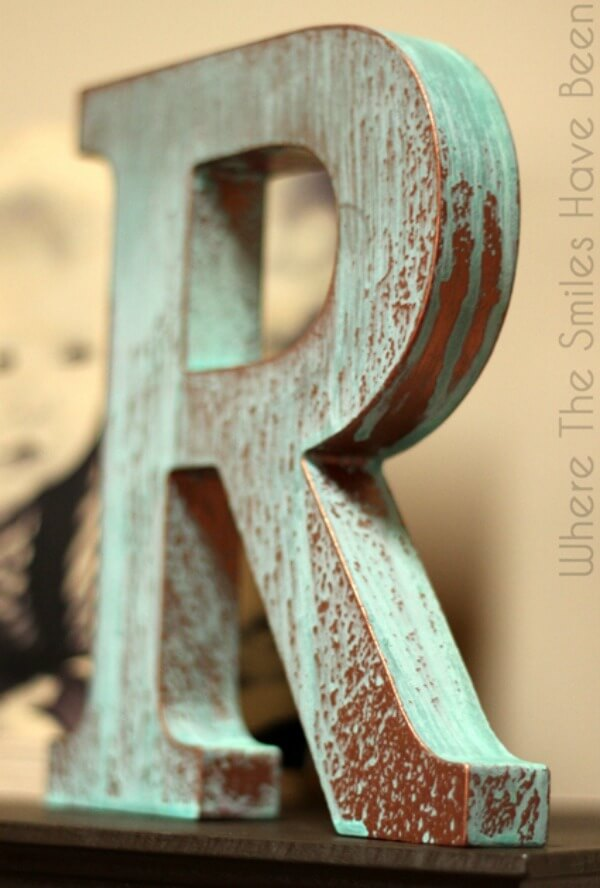 Faux Copper Aged Monogram with Paint