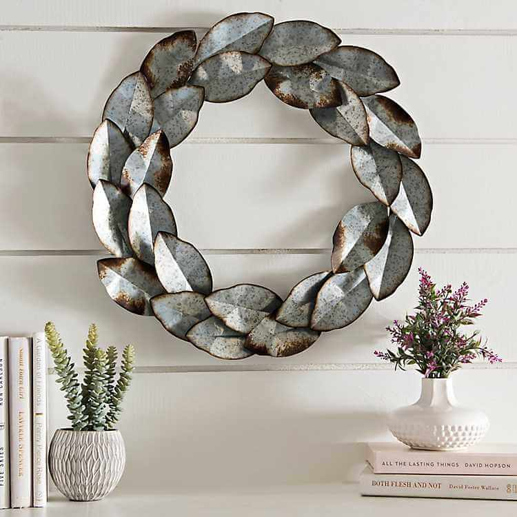 Rustic Galvanized Metal Leaf Wreath