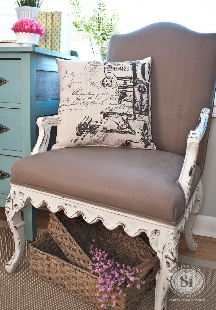 Distressed Antique Painted Cushion Armchair