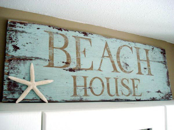 Blue Distressed Starfish Beach House Sign