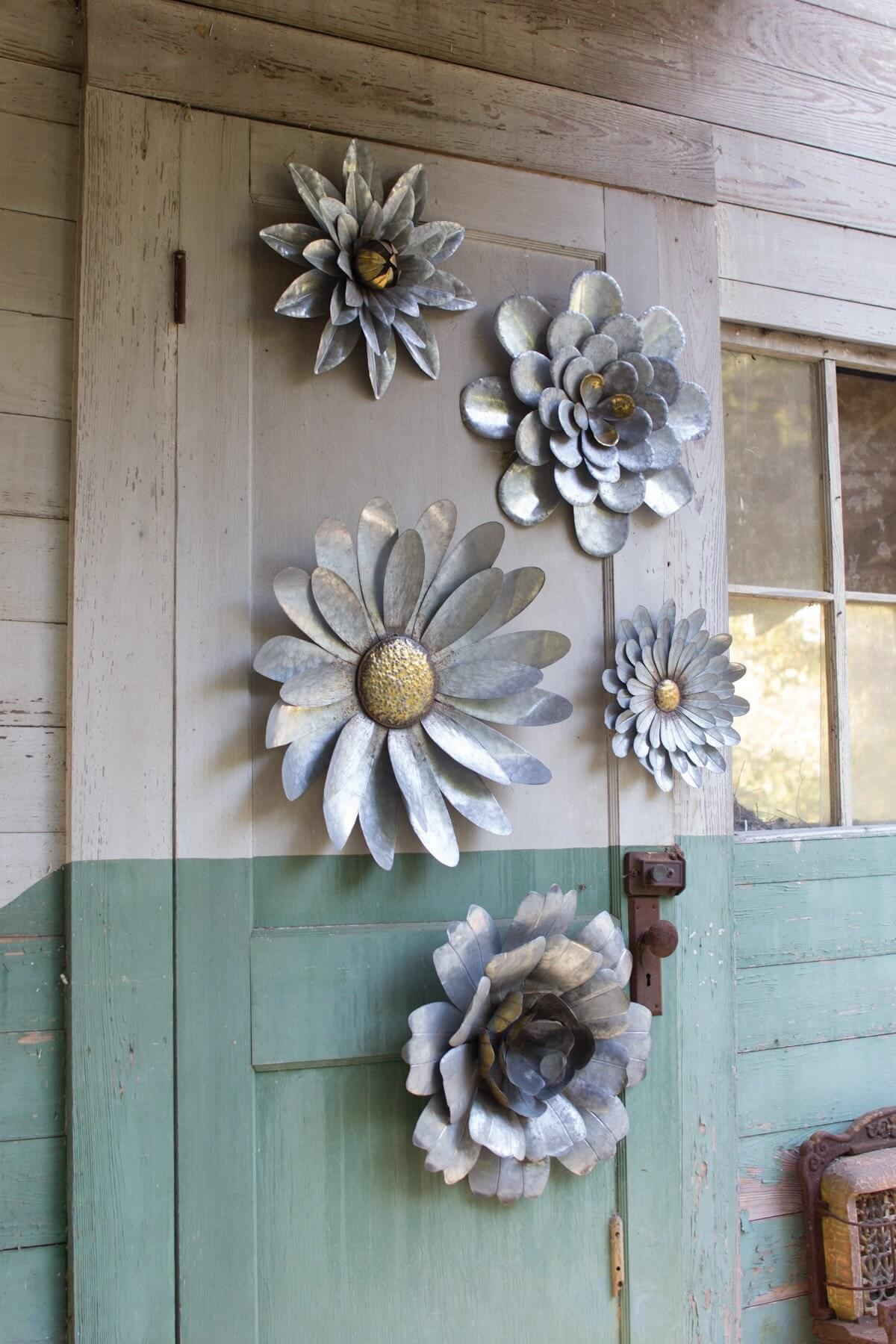 Galvanized Flower Set Metal Wall Decor