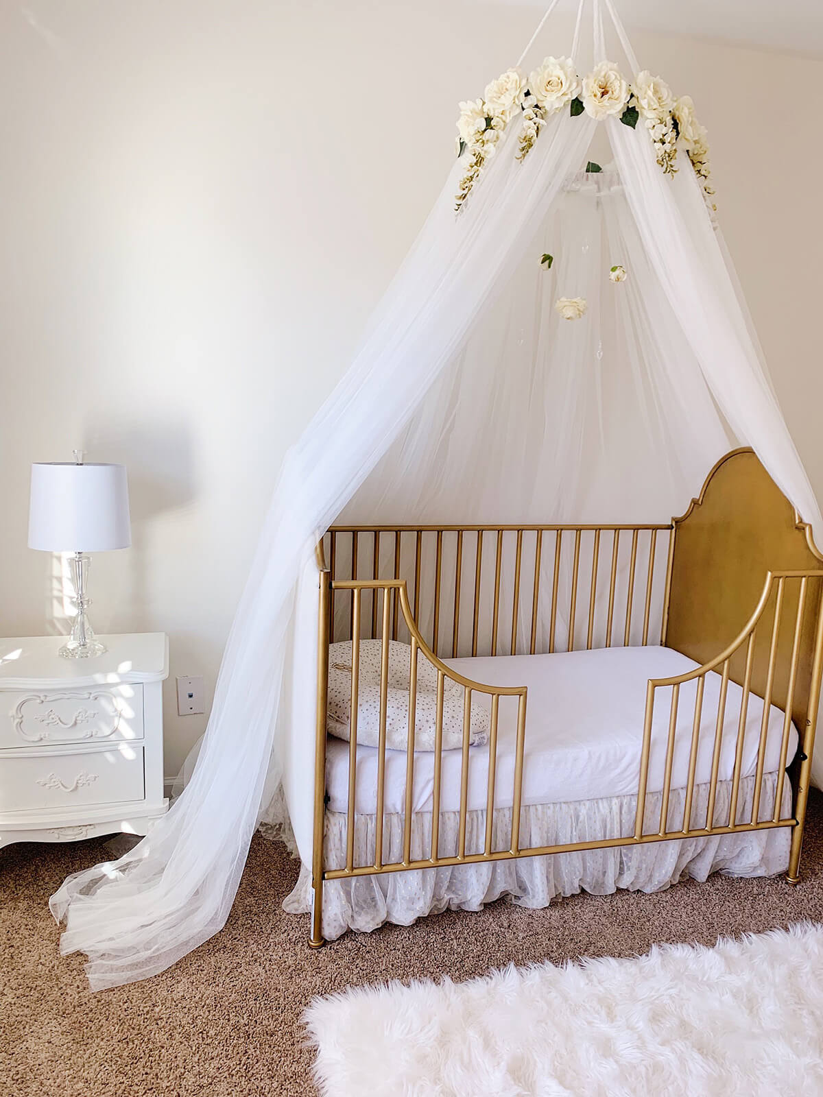 Ivory Juliette Floral Crib Canopy