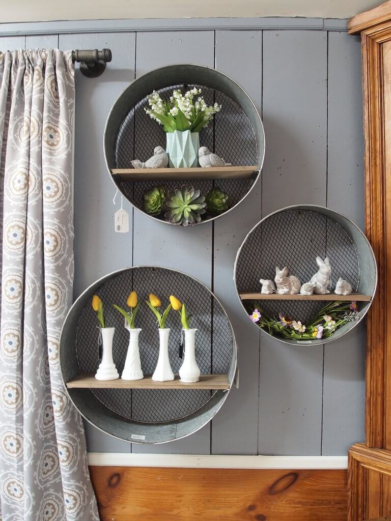 Round Hanging Mesh Backed Shelf