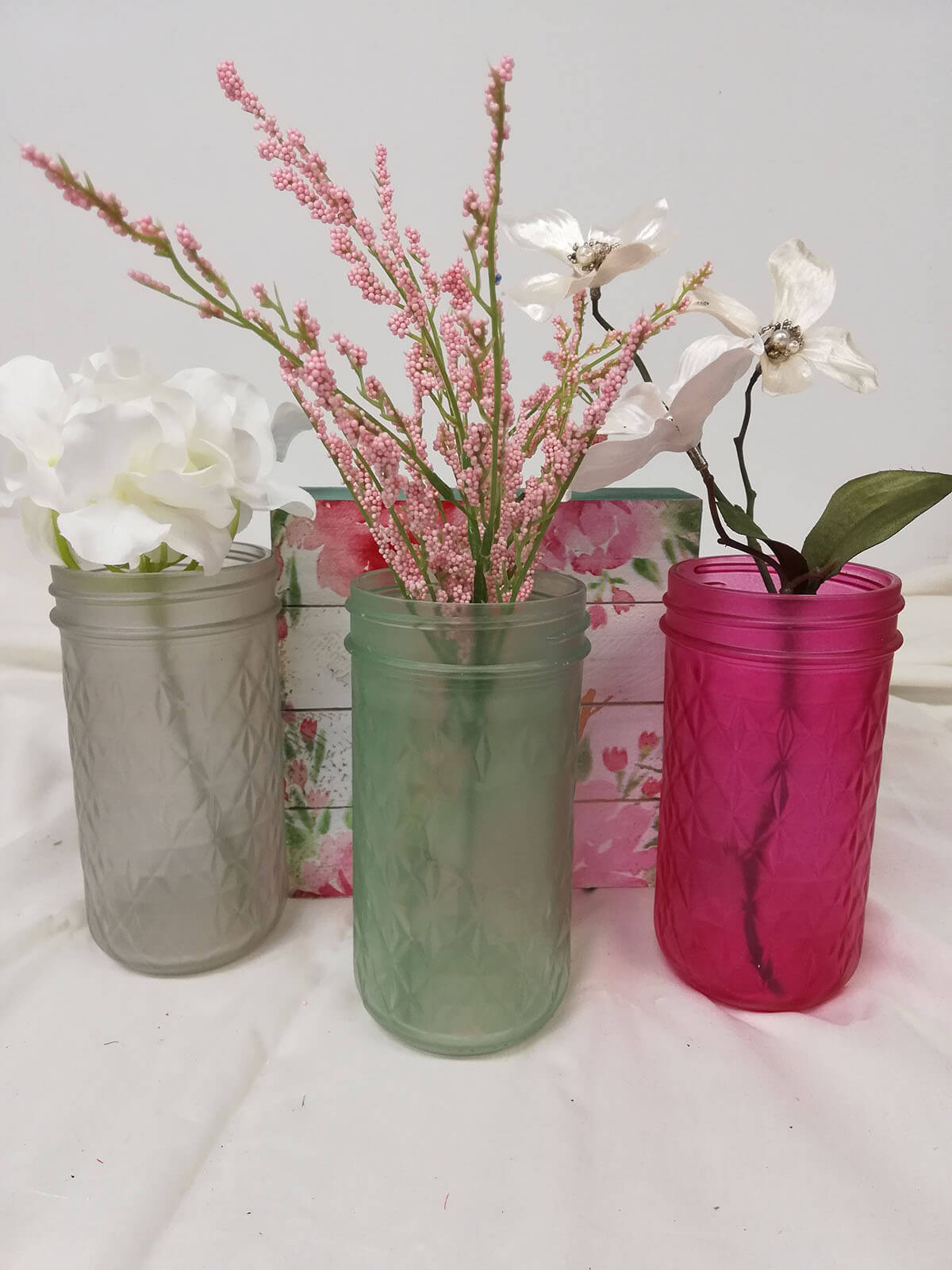 Frosted Glass Jars for Flowers