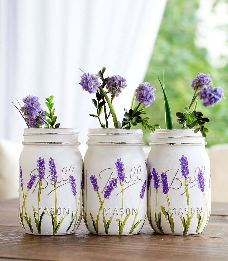 French Farmhouse Painted Lavender Blooms