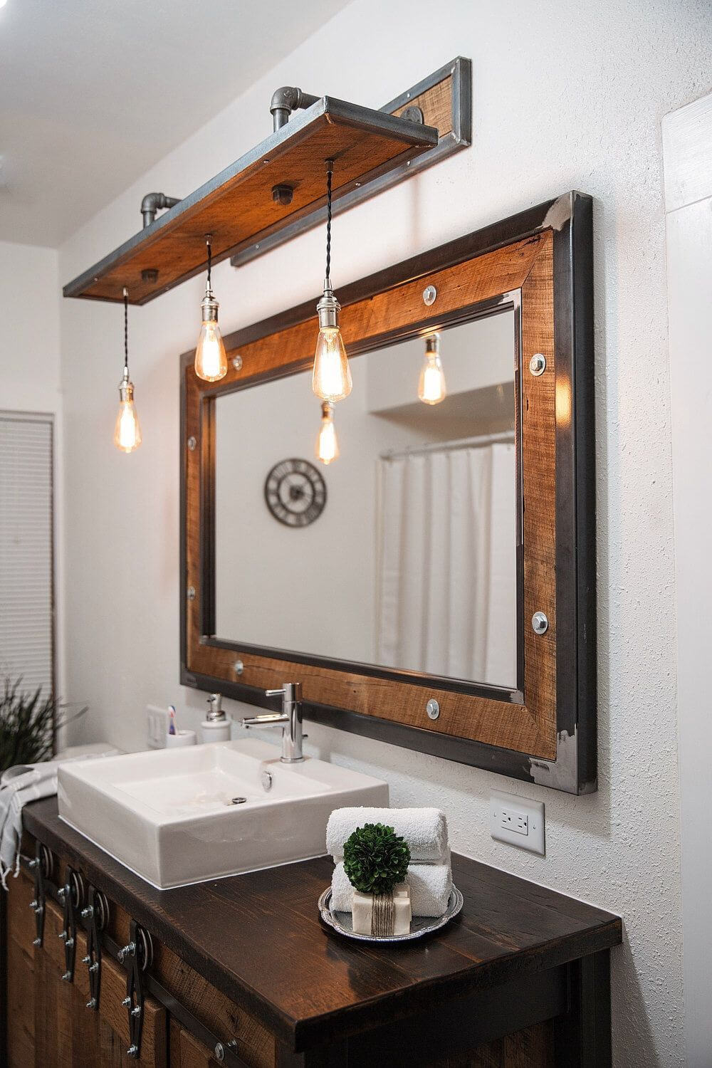 Steel and Barn Wood Vanity Light