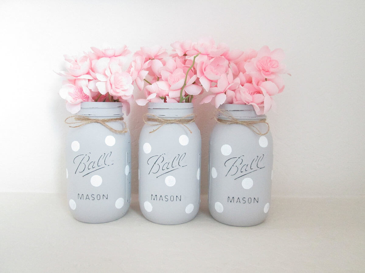 Modern Gray with White Polka Dot Jars