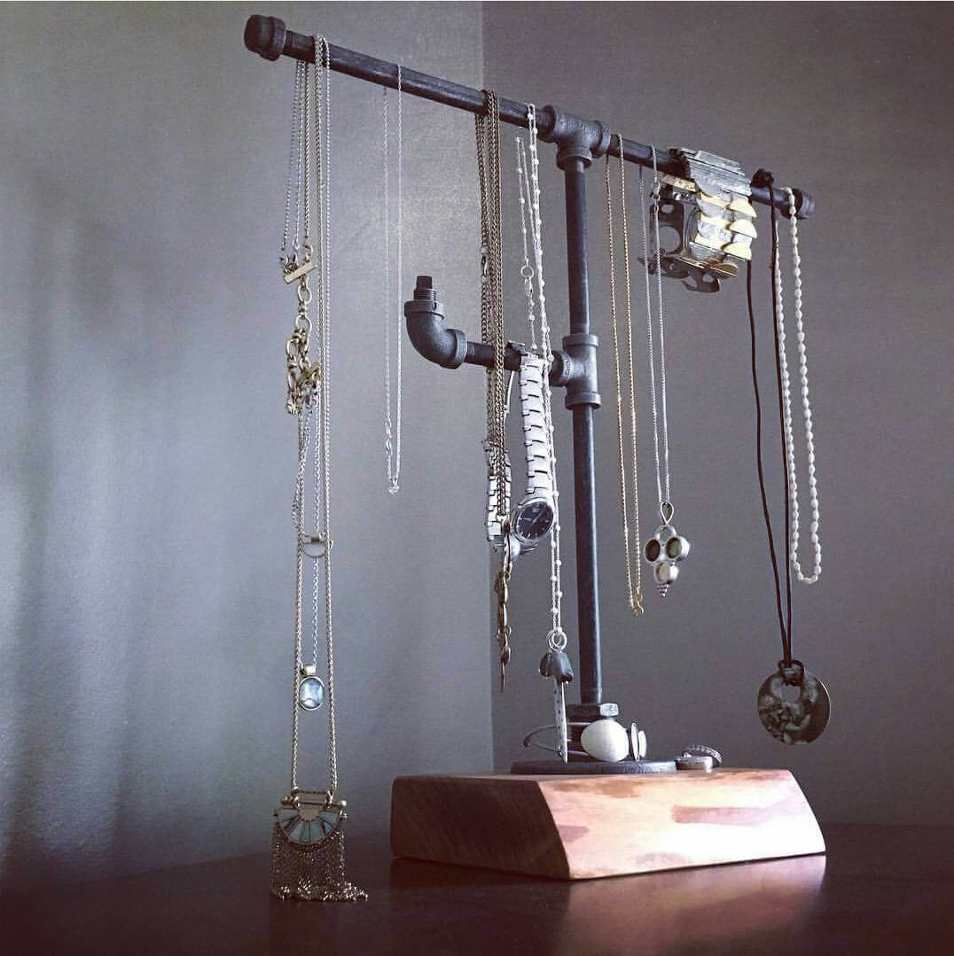 Handmade Jewelry Display Using Wood and Piping