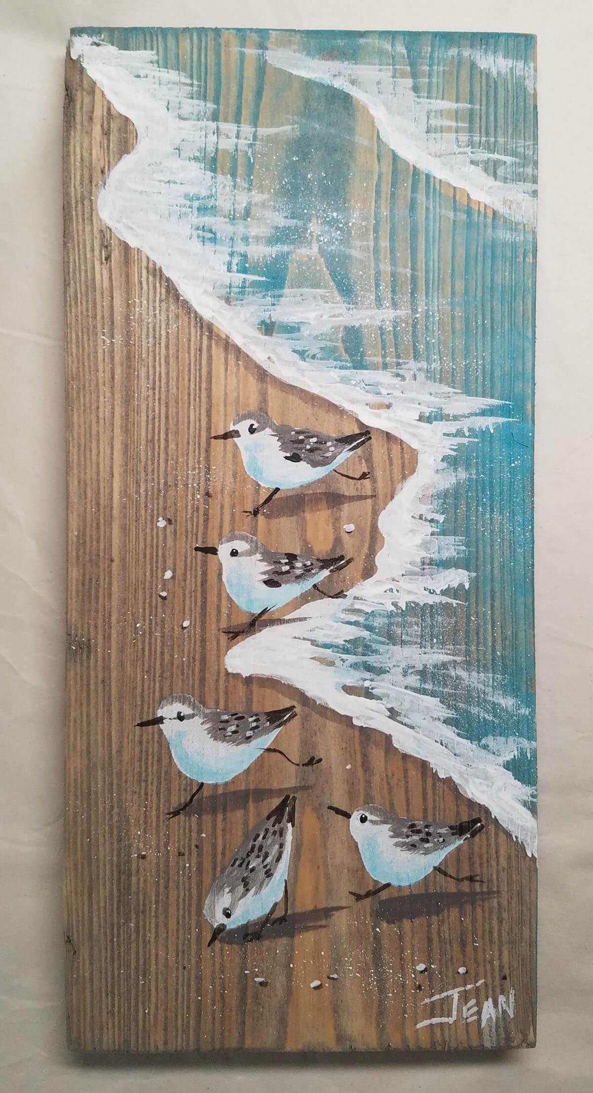 Seaside Seagulls Wooden Art Piece