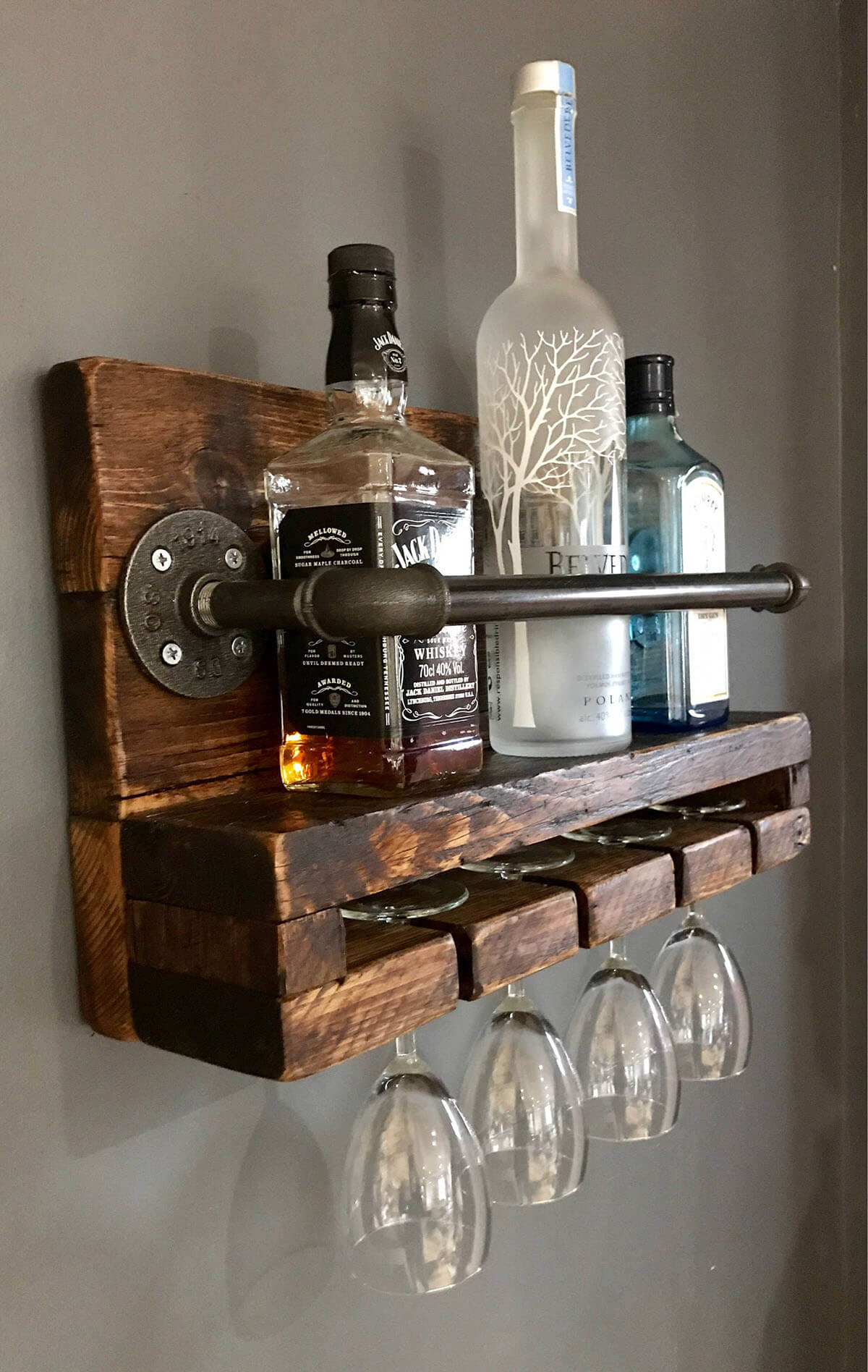 Urban Wine and Glass Wooden Storage Rack
