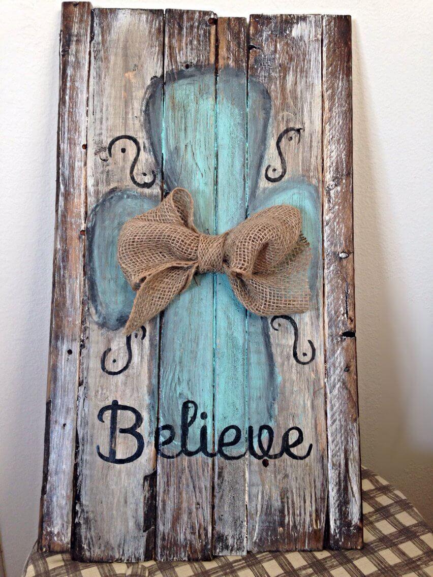 Beautiful Burlap Bow Believe Sign