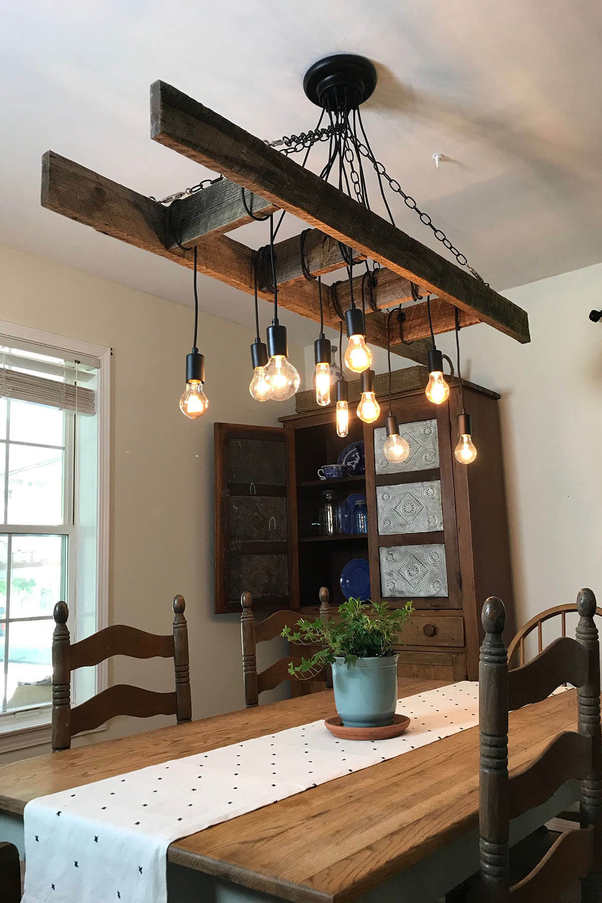 Vintage Farmhouse Chandelier Ladder with Edison Bulbs
