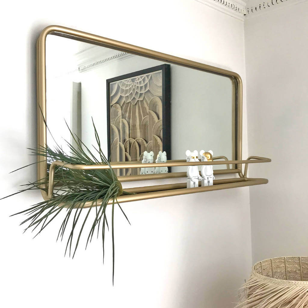 Metal Carriage Mirror with Shelf