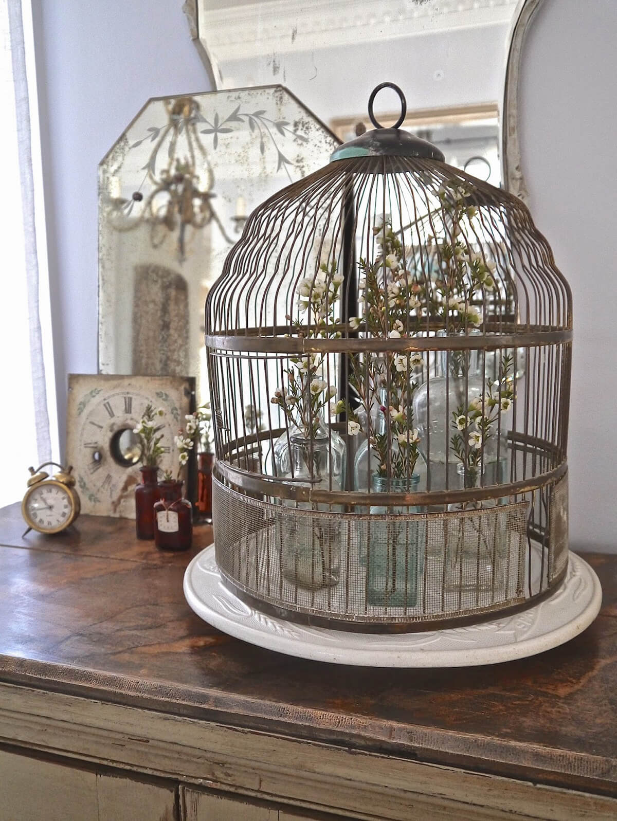 Antique Birdcage for Wildflowers