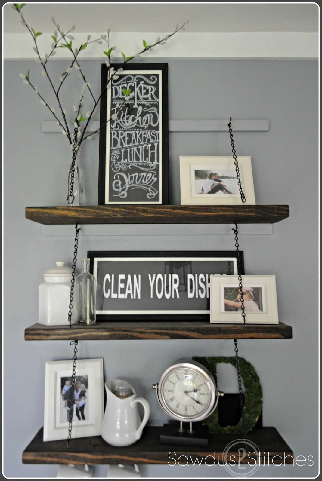 Chain Suspended Wooden Kitchen Shelves