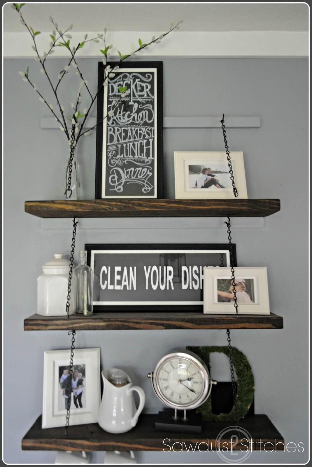 Chain Suspended Wooden Kitchen Shelves