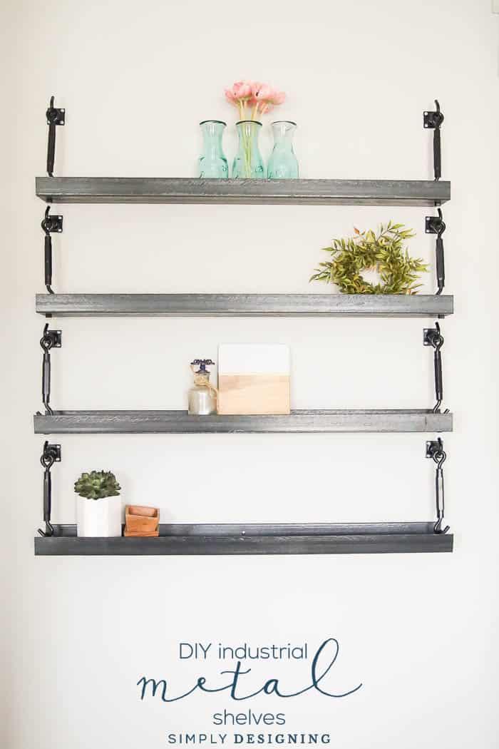 Simple Hanging Industrial Metal Shelves