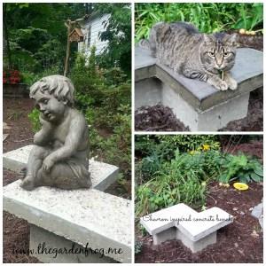 Chevron Inspired Cement Garden Bench