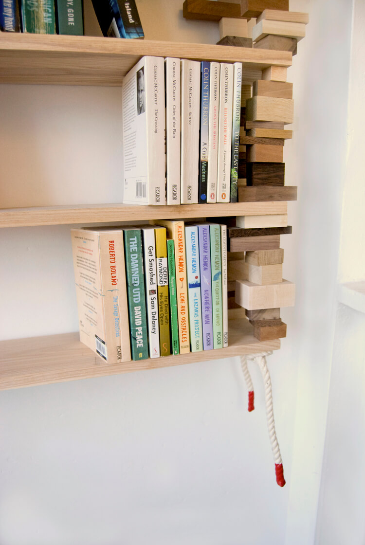 Floating Shelves with Wooden Block Bookends