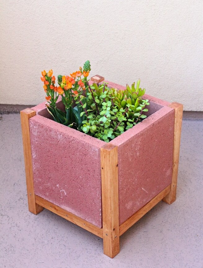 Beautiful DIY Cement Planter Stand